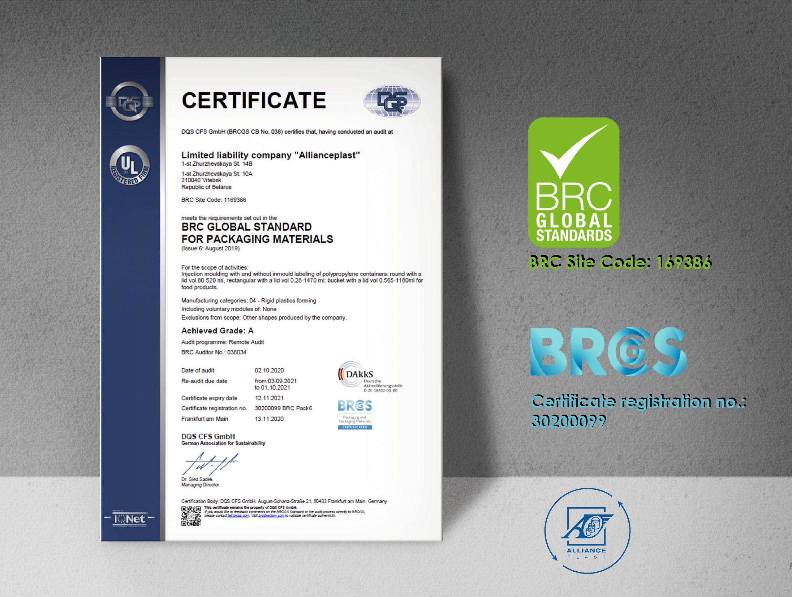 brc certification certificate safety